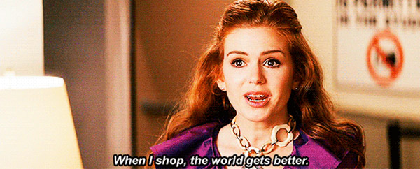 shopaholic, isla fisher, shopping, movie scene