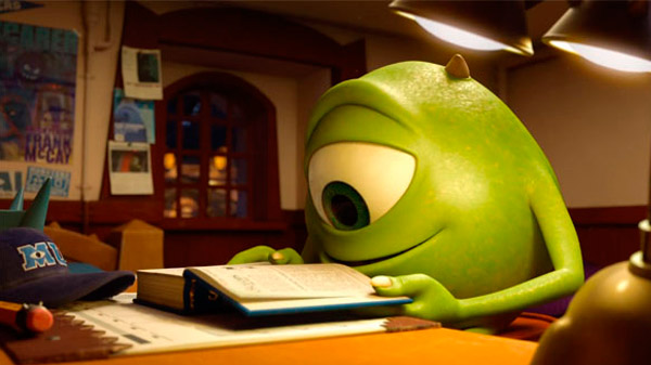 mike wazowski estudando, universidade monstros