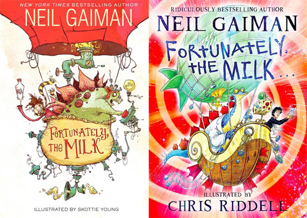 capas fortunately the milk neil gaiman cover difference