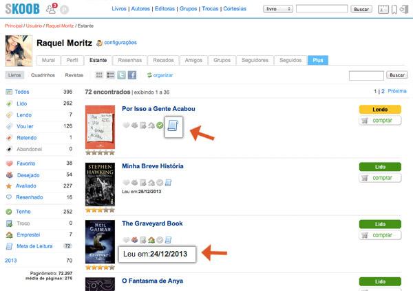 como usar o skoob, rede social literatura, como fazer meta leitura, historico data livro pra que serve