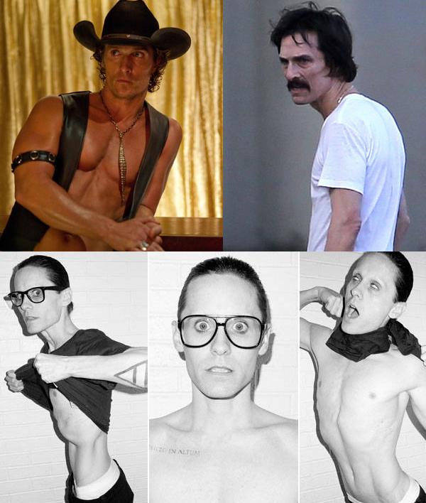 Em cima: um comparativo de antes (Magic Mike) e depois (Dallas Buyers Club) em nome da arte, é claro. | Em baixo: Jared Leto em sessão de fotos do Terry Richardson
