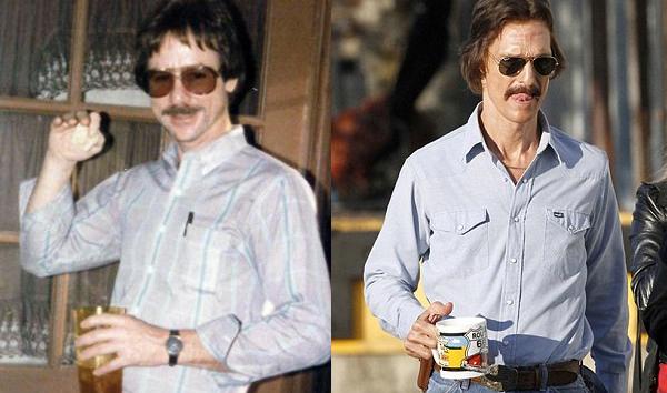 Esquerda: o verdadeiro Ron Woodroof | Direita: Matthew McConaughey em set.