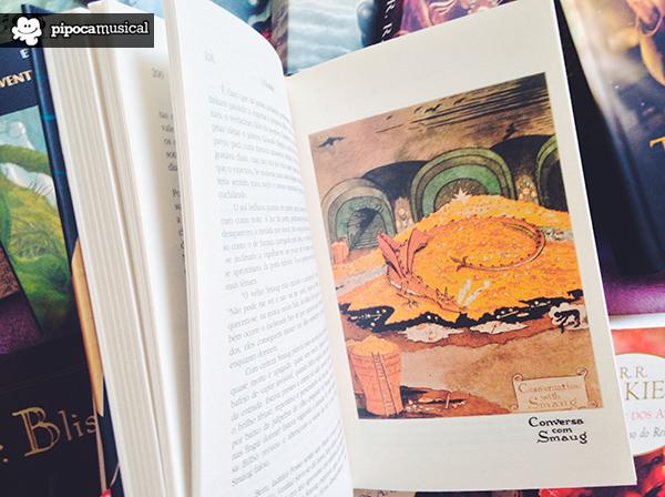 smaug, o hobbit livro tolkien, wmf martins fontes, livro tolkien capa dura, pipoca musical