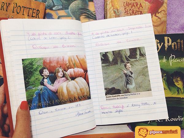 Recortes de jornais que falavam sobre Harry Potter.