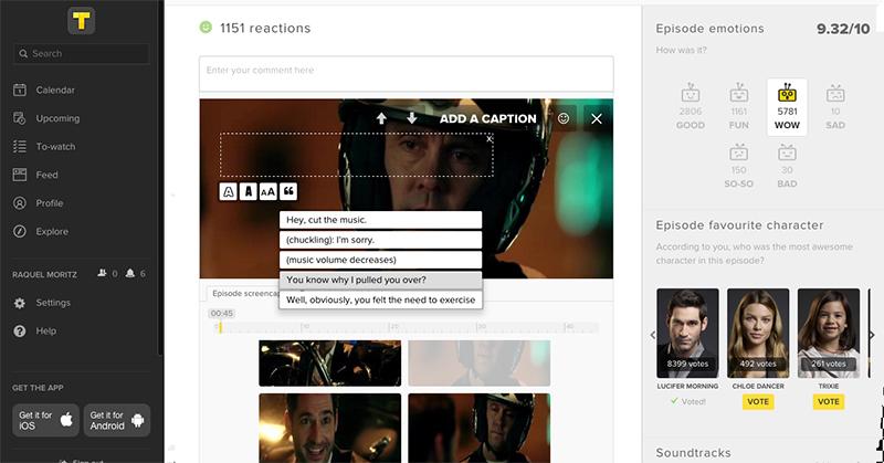 TV SHOW TIME - Como adicionar legenda no screenshot