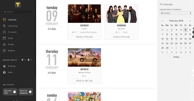 TV SHOW TIME - Calendário de séries