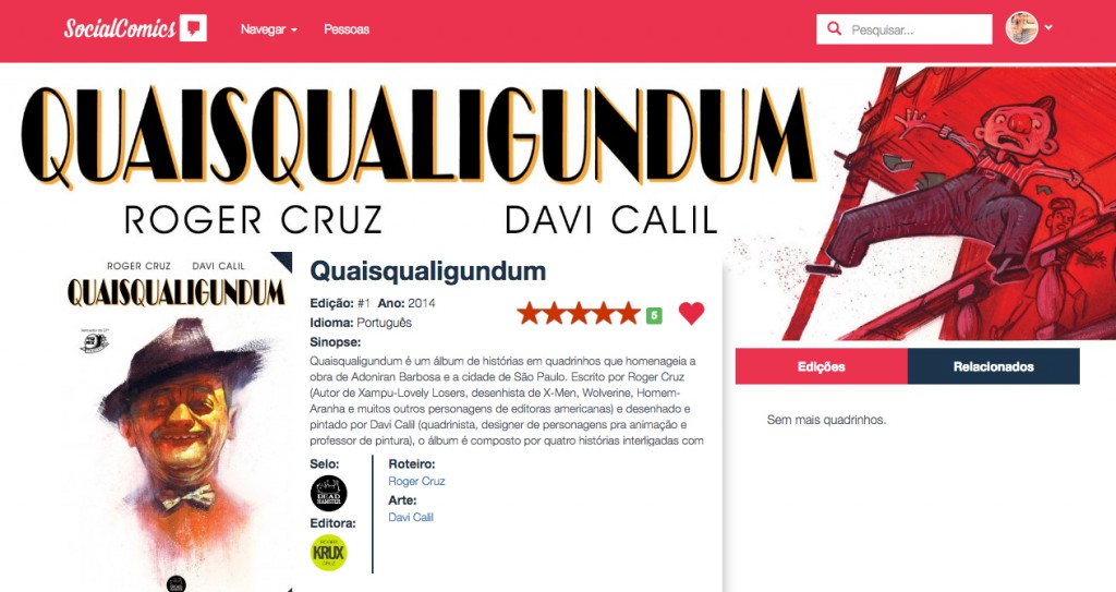 SOCIAL COMICS - Streaming de Quadrinhos - HQ de Roger Cruz e Davi Calil