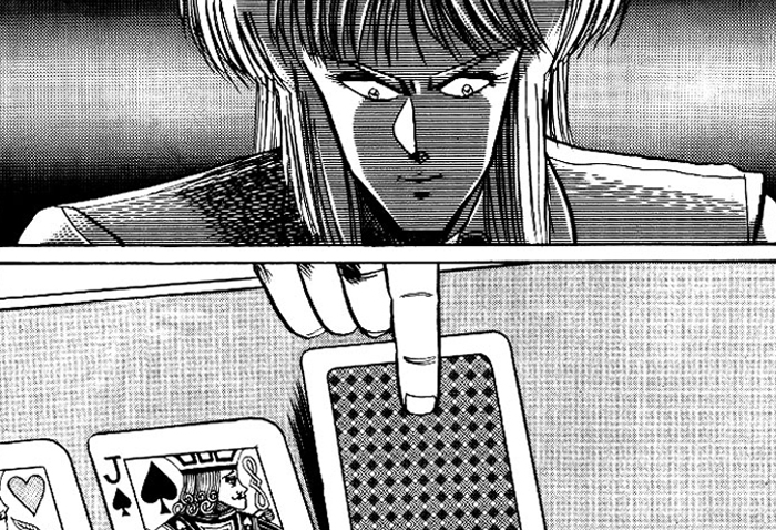 Virando as cartas no mangá POKER KING